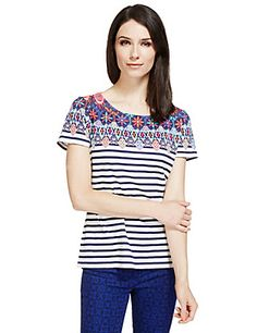 Pure Cotton Floral Border Striped T-Shirt | M&S