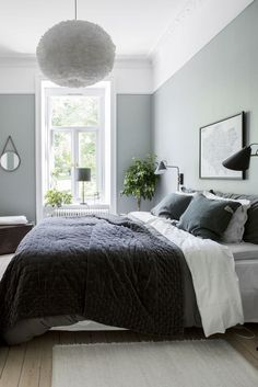Do You Like An Ideas For Scandinavian Bedroom In Your Home? If you want to have An Amazing Scandinavian Bedroom Design Ideas in your home. Minimalist Bedroom, Modern Bedroom, Bedroom Simple, Modern Bedding, Trendy Bedroom, Sage Green Bedroom, Green Master Bedroom, Blue Gray Bedroom, White Bedrooms
