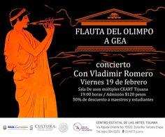 """""""Flauta del Olimpo a Gea"""" concierto con Vladimir Romero este viernes en el CEART.  $120 pesos.  #Eventos #Conciertos #Flauta"""