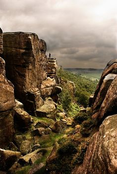 Curbar Edge, in Derbyshire's Peak District National Park, UK.