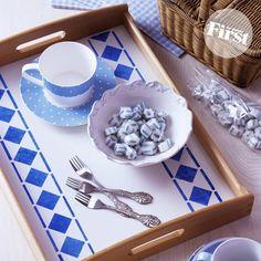 DIY Diamond stenciled tray