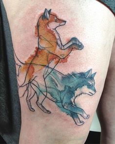 Aga Yadou watercolor fox and wolf tattoo