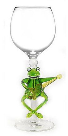 Hand Blown Frog Playing Guitar Artistic Wine Glass by Yurana Designs W145 by Yurana Designs. $35.00. We offer 150 Glasses, and 50 Stoppers of Similar Designs. Great gift for Wine Lover. This will be one Gift they don't already have!. Hand Blown Frog Playing Guitar Wine Glass W145. For all of your friends who have trained frogs to play the guitar this would be a great gift.  Hand Wash Only