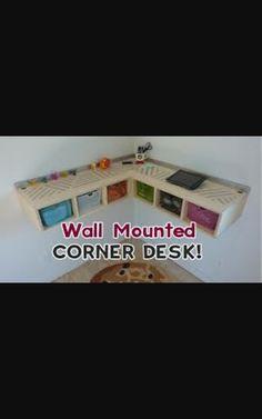 Wall mounted corner desk and desk tidy Desk Tidy Diy, Wall Mount, Corner Desk, Corner Table, Wall Installation
