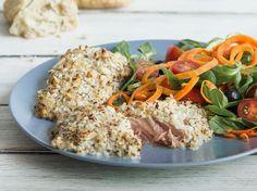 Lachs mit Paranuss-Senf-Kruste Fish Recipes, Healthy Recipes, Healthy Food, Deli Food, Yummy Food, Tasty, Risotto, Seafood, Paleo