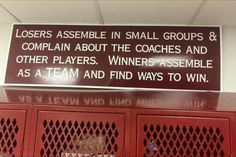 Losers assemble in small groups and complain about the coaches and other players. Winners assemble as a TEAM and find ways to win. Thursday Motivation, Life Motivation, Work In Silence, My Children Quotes, Basketball Leagues, Wednesday Wisdom, Knee Injury, Small Groups, A Team