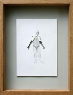 Acid-free A4 115 gsm paper,glue, pencil, acrylic paint and oak frame. 47,5 x 37 x 7 cm