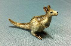 Miniature Ceramic Kangaroo Australia Animal Cute Little Tiny Small Brown Figurine Statue Decoration