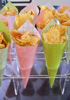 Pink and green paper patterned cones. Image from bambinamia.blogspot.com via Pinterest.