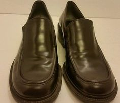 "Enzo angiolini women's size 8.5 M brown  loafers 1.5"" heels dress leathe shoes"