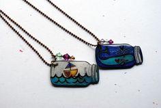 More Shrink Film Jewelry Lookie See (Painting Bliss) Shrink Paper, Shrink Plastic Jewelry, Shrink Art, Paper Jewelry, Jewelry Crafts, Shrink Film, Plastic Art, Shrinky Dinks, Bijoux Diy