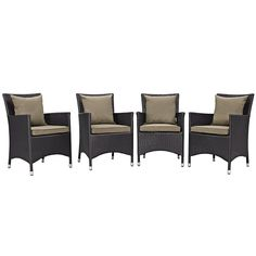 Modway Furniture Modern Convene 4 Piece Outdoor Patio Dining Set