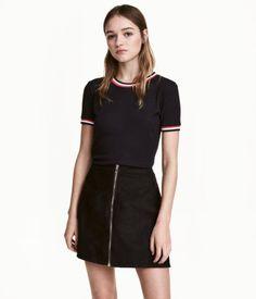 A-line Skirt | Black/imitation suede | Women | H&M US