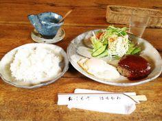 山の家はせがわのハンバーグセット 1200円  京美峠茶屋から車で5分程度。自然に囲まれた中で、絶品ハンバーグを食べる事が出来ます。ハンバーグ以外にも、洋食メニューやBBQを楽しむ事が出来ます。  http://kyotonote.com/yamanoiehasegawa/