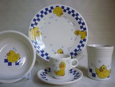 Fiesta® RUBBER DUCKY 5-piece Child's Place Setting made by Homer Laughlin China Company | WorthPoint