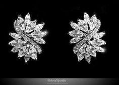 Bridal Earrings, 5.5 Carat Cubic Zirconia Cluster Marquise Pear Cut Stud Earrings, Vintage CZ Statement Stud Earrings, Wedding Earrings