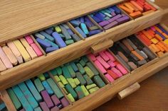 Chalk pastel tutorials  OMG one day I will have a drawer like this I miss my art work