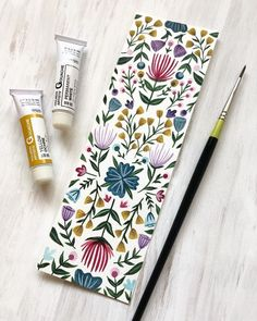 I have this lovely flower bookmark in Gouache and Aquarel last week . - I have painted this lovely flower bookmark in gouache and watercolor last week, - painting illustration Watercolour Painting, Watercolor Flowers, Painting & Drawing, Watercolours, How To Watercolor, Watercolor Bookmarks, Drawing Flowers, Art Flowers, Watercolor Pattern