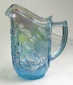 Scarce 1970's Imperial Lenox Aqua Blue Carnival Glass Pitcher Birds in Branch | eBay