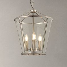 John Lewis Granchester Glass Lantern Ceiling Light, Satin Nickel at John Lewis Chandelier Lighting Fixtures, Hall Lighting, Bedroom Lighting, Pendant Lighting, Lighting Ideas, Lantern Pendant, Kitchen Lighting, Chandeliers, Lighting Design