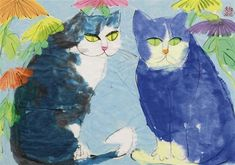 Walasse Ting - Two cats