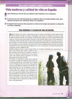 Texto. Vida moderna y calidad de vida en España