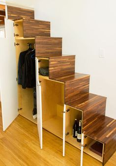 "A set of Japanese ""tansu"" stairs add extra storage space."