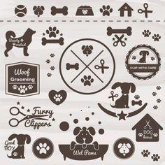Animais vetor ícone cão conjunto Vetor grátis