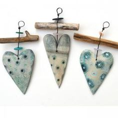 Each ceramic heart and driftwood hanger is lovingly handmade by Shirley Vauvelle . Clay Art Projects, Clay Crafts, Ceramic Jewelry, Polymer Clay Jewelry, Ceramic Pottery, Ceramic Art, Polymer Clay Kunst, Driftwood Crafts, Clay Ornaments