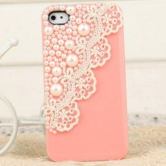 lace, pearl, coral. iPhone case. <3