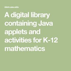 A digital library containing Java applets and activities for mathematics Teaching Activities, Math Resources, Teaching Math, Teaching Ideas, Math Problem Solving, Math Manipulatives, Numeracy, Primary Maths, Teacher Inspiration