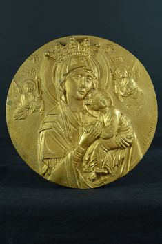 Religious gilded bronze Medallion/Plaque Our Lady of Perpetual help by Tschudin Catholic Medals, Small Words, Bronze Sculpture, Our Lady, Metal, Artist, Artists, Metals