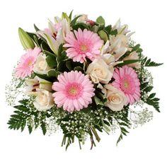 Bouquet rond composé de gypsophile, de roses 30cm, germinis roses et lys blancs. Feuillage : salal, pittosporum et fougère (tons : rose et blancs) #bouquet