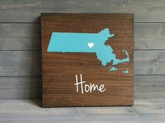 Pick Colors, Massachusetts Wood Sign, Stained Hand Painted, Personalize, Massachusetts decor, Massachusetts sign, Boston art