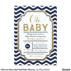 Chevron Navy And Gold Baby Shower Invitation