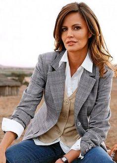 Image for Womens White Dress Shirt Tan Vest Grey Plaid Blazer And Blue