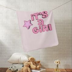 #It's A Girl With Puffy Pink Star Baby Blanket - #cute #pink #sweet #custom