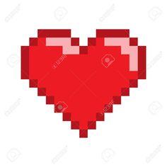 Vector pixel art heart for game and design. Stock Vector - 64392852