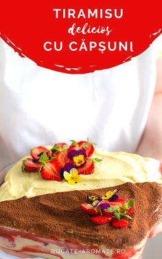 Tiramisu cu căpșuni, rețeta cu cremă de mascarpone și ouă sterilizate la bain marie. Tiramisu de primăvară, delicios și răcoritor.  #tiramisu #capsuni #mascarpone #bucatearomate #tiramisucucapsuni #strawberrytiramisu #tiramisucake #torttiramisu #desert Dessert Recipes, Desserts, Tiramisu, Mexican, Ethnic Recipes, Mascarpone, Pie, Deserts, Desert Recipes
