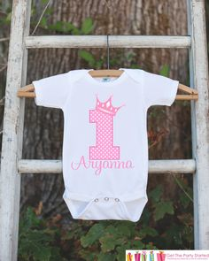 First Birthday Princess Outfit - Personalized Princess Bodysuit For Girls 1st Birthday Party - Pink Princess Birthday Onepiece w/ Name & Age