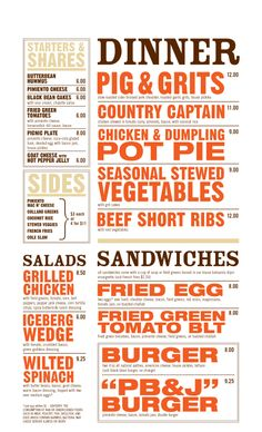 West Egg Cafe menu - love the bold, simple, effective look of this!