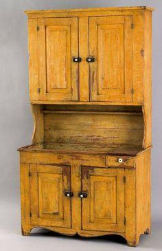Old Primitive Mustard Cupboard