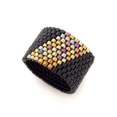 Beaded Black Ring Black and Gold Ring Beaded Ring Couple Ring Band Dreadlock Bead Geometric Peyote Beading, Beadwork, Seed Bead Jewelry, Beaded Jewelry, Handmade Jewelry, Wire Jewelry, Jewelry Rings, Beaded Rings, Bead Jewelry