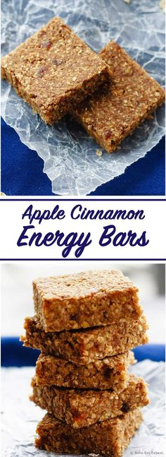 Healthy Snacks For Kids Apple Cinnamon Energy Bars - Easy apple cinnamon energy bars that mix up quickly and are a hit with the kids - plus you can be happy they get a healthy snack that will keep them going! Healthy School Snacks, Healthy Protein Snacks, Healthy Bars, Healthy Treats, Healthy Baking, Healthy Recipes, Happy Healthy, Apple Recipe Healthy, Apple Recipes Healthy Clean Eating