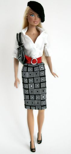Blouse Skirt & Beret for Barbie by ChicBarbieDesigns on Etsy, $24.99