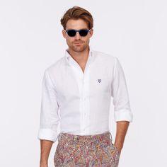 CREMIEUX LS One Piece Button Down Collar Shirt – White #vermontfashion
