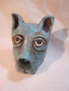 Blue Dog ceramic animal sculpture hand made by ewocasek on Etsy, $40.00