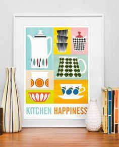 Kitchen Print, Mid century poster, art for kitchen, Cathrineholm, Retro kitchen wall decor, Scandinavian design, Kitchen Happiness A3. $21.00, via Etsy.