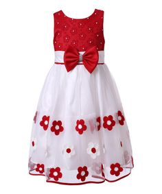 Another great find on #zulily! Red & White Floral Dress - Toddler & Girls by Richie House #zulilyfinds