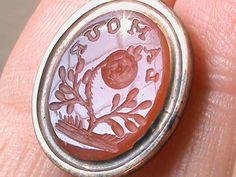 Antique Georgian 9k Rose Gold Sentimental Intaglio Seal Fob